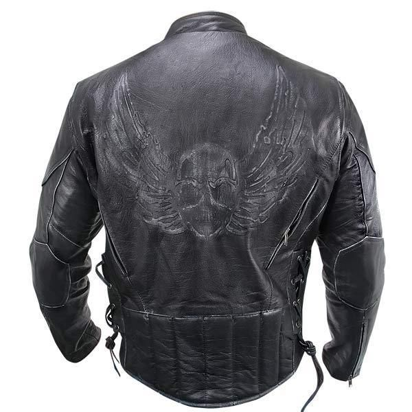 Xelement 96333 Premium Black Distressed Cowhide Leather Flying Skull Jacket #Xelement #Motorcycle