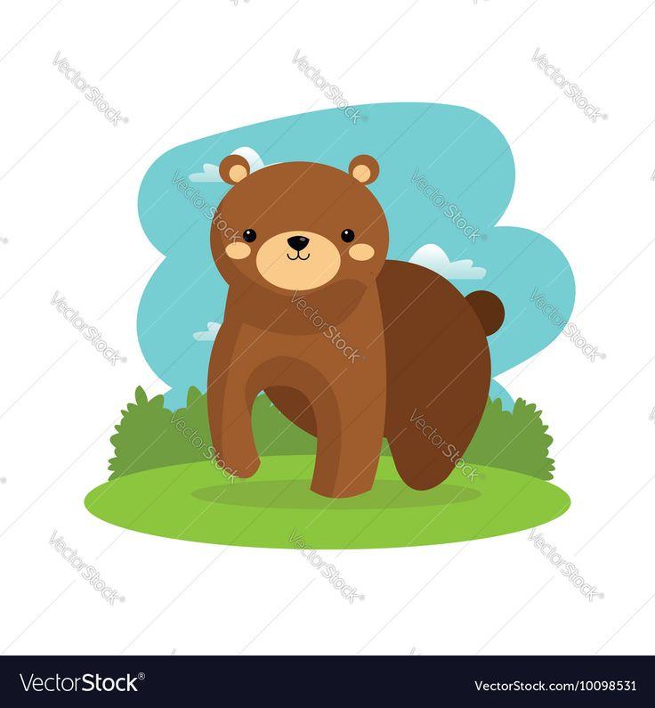 Bear cartoon icon Woodland animal graphic Vector Image by jemastock