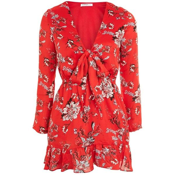 Carnation Floral Tie Front Dress by Glamorous Petites (55 AUD) ❤ liked on Polyvore featuring dresses, red, floral print dress, long sleeve floral dress, red print dress, floral printed dress and flower pattern dress