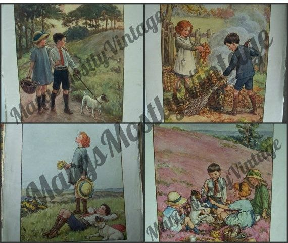 1930 British Picnic Story Book  FIVE Colored by MargsMostlyVintage