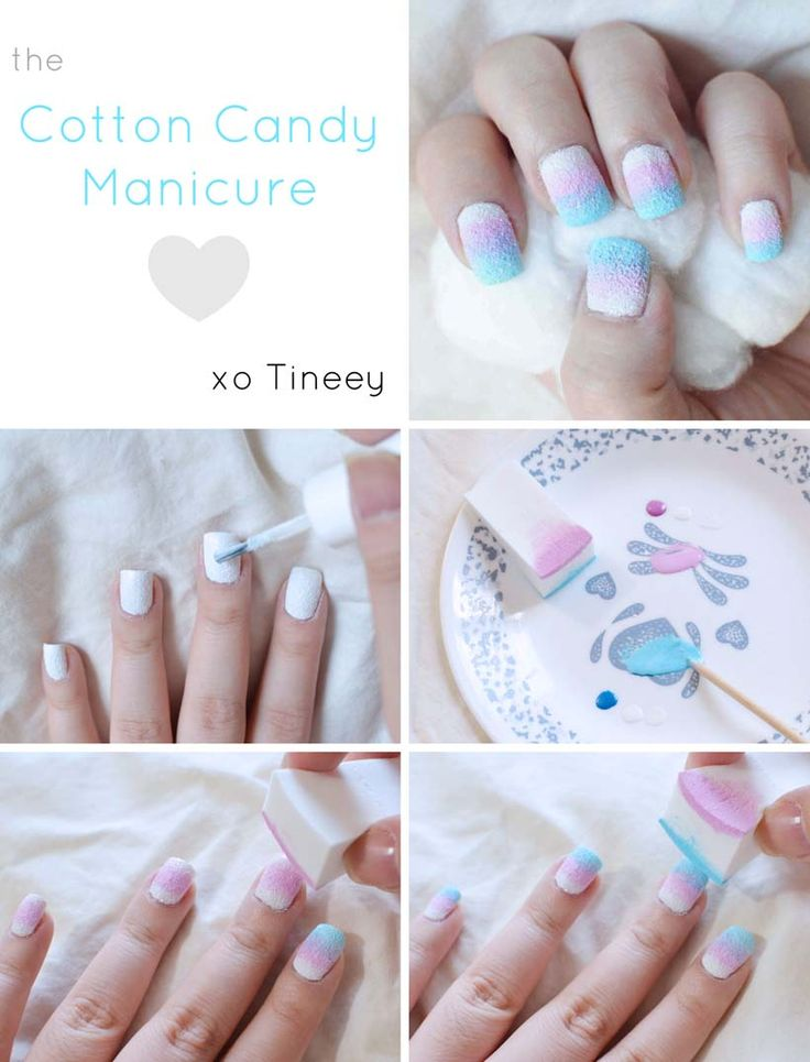 Summer is the time for carnivals and cotton candy snacks. Why not have nails that match? @Tineey