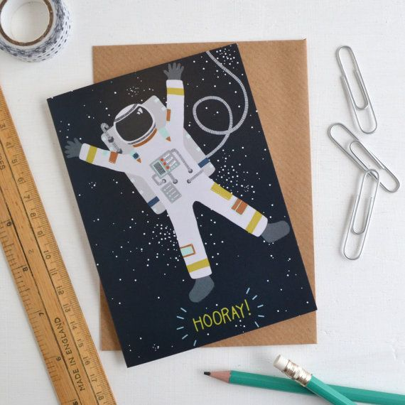 Astronaut Card, Hooray Greetings Card, Congratulations Spaceman Card, Well Done Celebration Card, Alternative Engagement Gift, Passed Exams