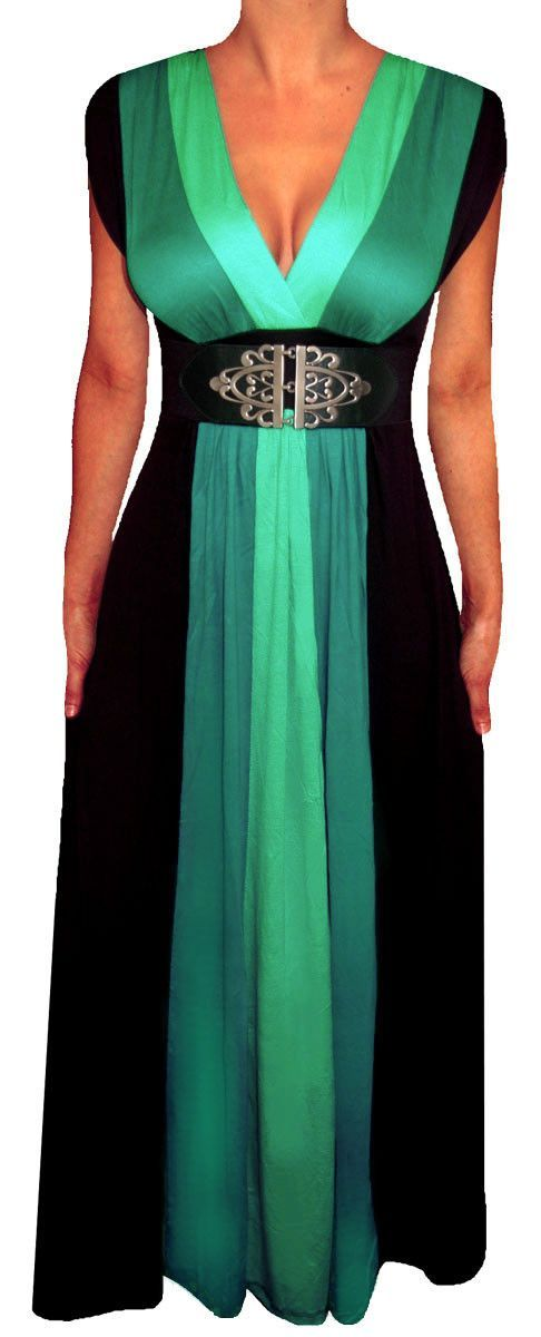 Funfash Plus Size Clothing Black Color Block Long Maxi Women's Plus Size Dress...needs a modesty panel