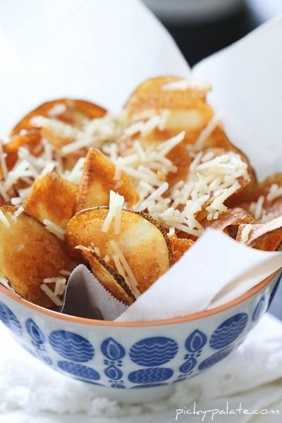 Bowl of Homemade Parmesan Potato Chips....for one.  Add a little garlic to the parm and the result will be fantastic!