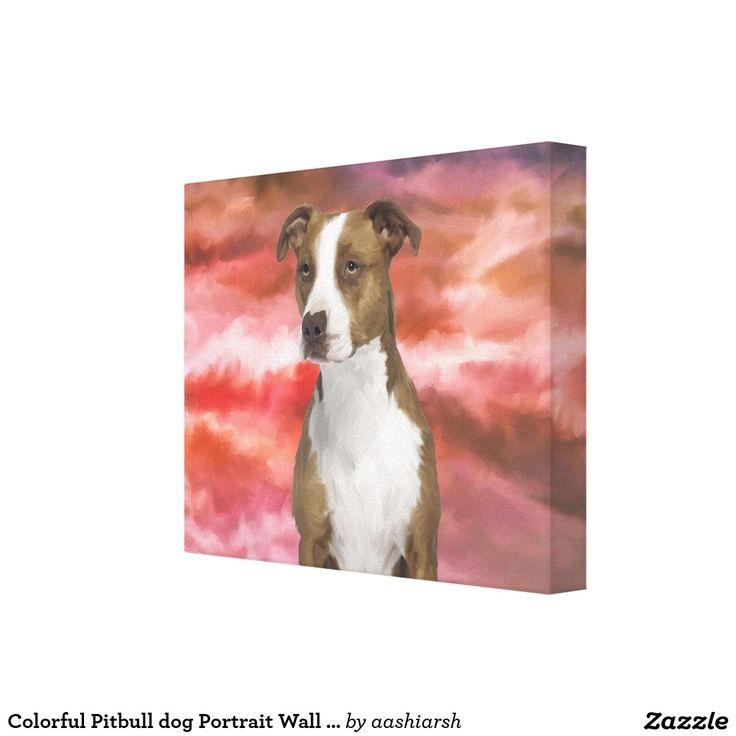 #Colorful #Pitbull #dog #Portrait Wall #Art #Painting #pet #animal #gift