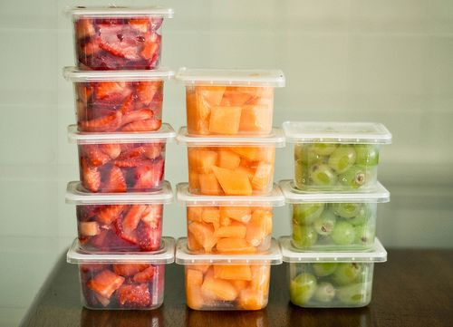 Re-use baby food containers for perfect portions. Great idea for having snacks set up in the fridge for kids.