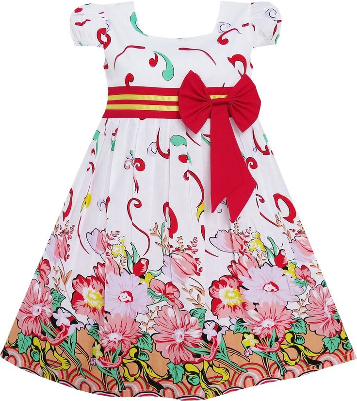Girls Dress Pink Flower Short Sleeve Party Birthday Size 2-10 Years