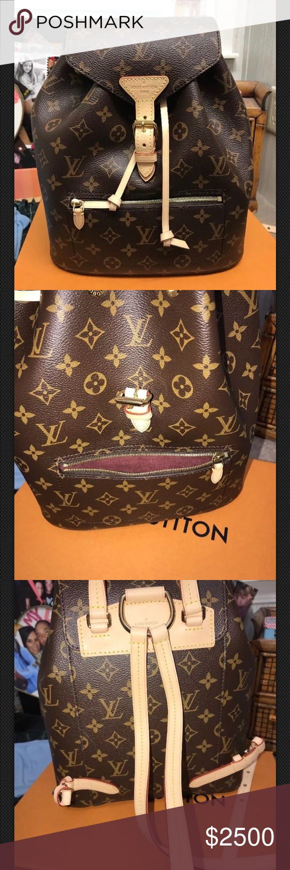 NWT Louis Vuitton Montsouris Gorgeous LV Montsouris Backpack Purse in original monogram print. Deep burgundy microfiber lining w gold hardware. My dad literally just got me the Seperone in Azur Damier in October + got me this one for Christmas bx he didn't know which one I would like, so he got both!! I have several luxury designer backpacks + definitely do not need another. Will take less via invoice by 🅿️🅿️ Cross posted. Louis Vuitton Bags Backpacks