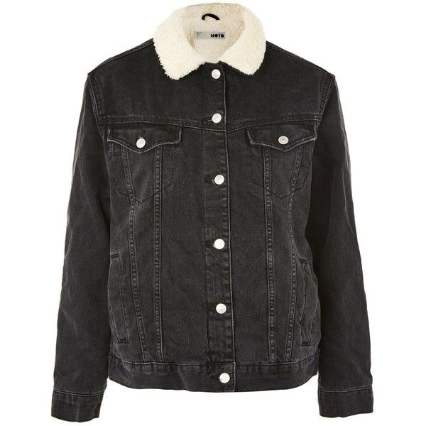 TopShop Moto Oversized Borg Collar Denim Jacket (2,225 MXN) ❤ liked on Polyvore featuring outerwear, jackets, topshop, washed black, borg collar jacket, biker jacket, oversized biker jacket, jean jackets and topshop jackets