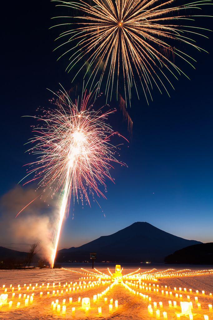 Winter Fireworks with Mt. Fuji, Japan 雪景色の華
