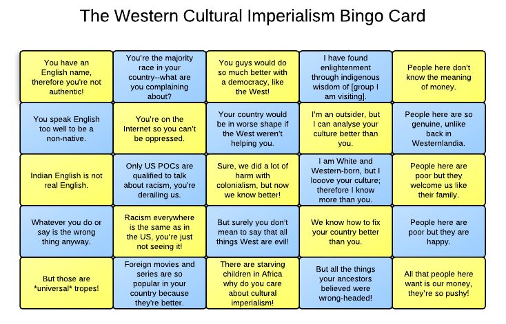 Cultural Imperialism Bingo Card - not just in books, but it's too important not to spread the word.