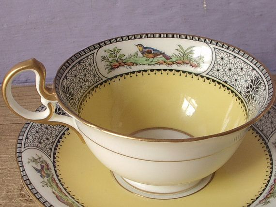 Antique 1920's Aynsley tea cup and saucer set by ShoponSherman,