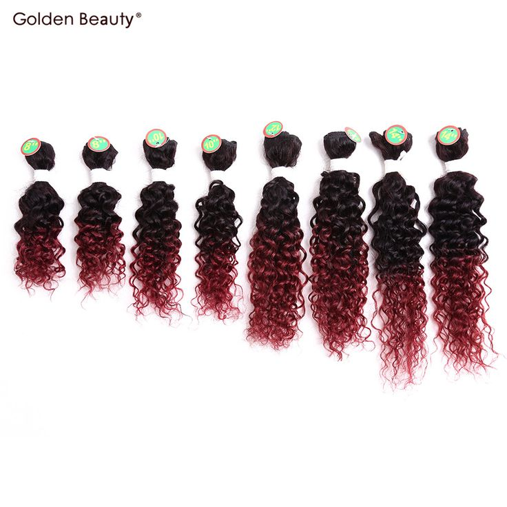 8-14inch Curly Synthetic Weave Sew in Hair Extensions Ombre Burgundy Hair 8pcs/pack Goden Beauty
