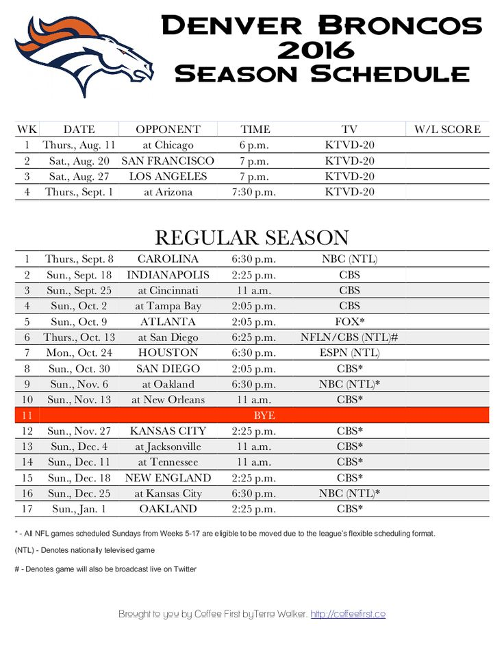 Denver Broncos 2016 season schedule - free printable score tracker!