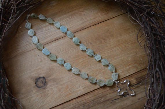Aquamarine Cross Necklace Crystal Cross Necklace by thiswayvintage
