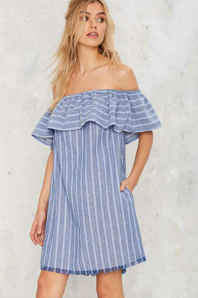 Tulum Off-the-Shoulder Mini Dress - Best Sellers   Back In Stock   Day   Dresses   Stripes   Off The Shoulder