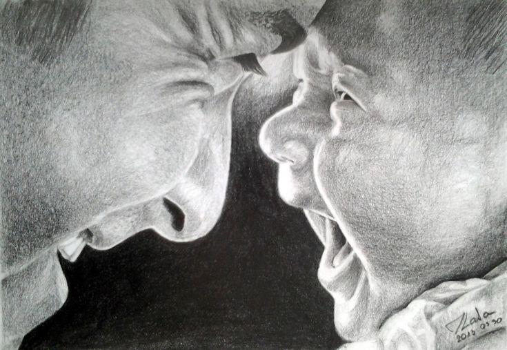 Apa-fia jobb agyféltekés rajz