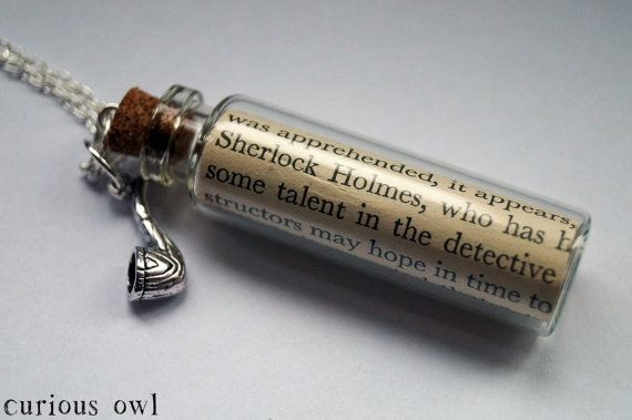 Sherlock Book Page Bottle Necklace