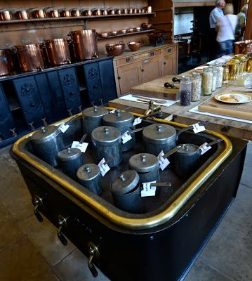 bain-marie from Petworth House Each saucepan is labeled with different contents. Hollandaise.