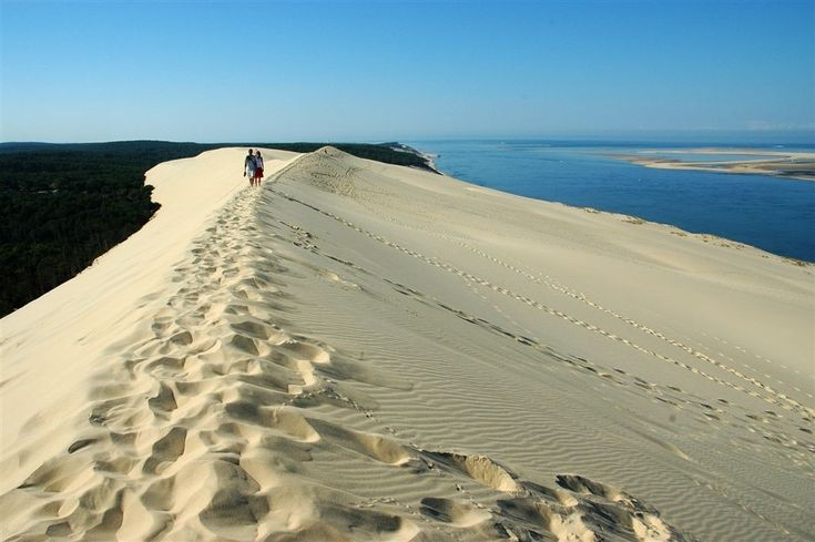 Dune du Pilat. Europe's highest sand dune, barely an hour from wine-rich Bordeaux, draws paragliders, sun-worshippers and – believe it or not – the occasional skier (when winter brings a dusting of snow to its impressive 108m).
