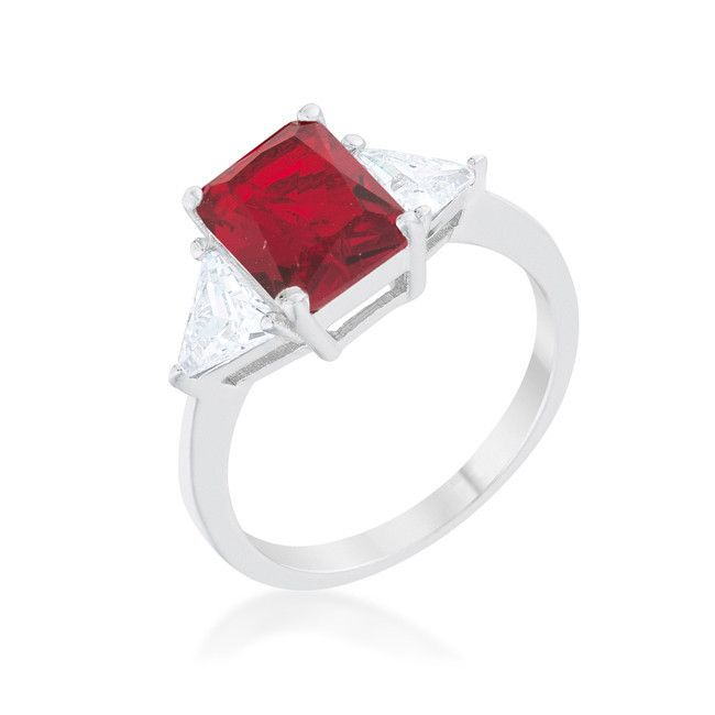 Radiant Cut Ruby Red Sapphire and CZ Rhodium Ring