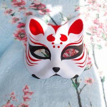 Half Face Hand-Painted Japanese Fox Mask Kitsune Cosplay Masquerade Red Dot Pattern for Party Halloween  //Price: $43.99 & FREE Shipping //     #halloween #mask #masks #halloweenmask #scarymask #superheromask