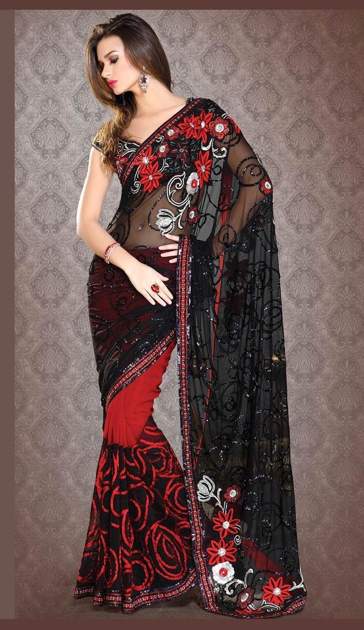 Exquisite Black & Brick Red Embroidered Saree Item Code: VI01767 Color: Black, Brick Red Fabric: Faux Georgette, Net Work: Lace, Resham, Sequins $245.07