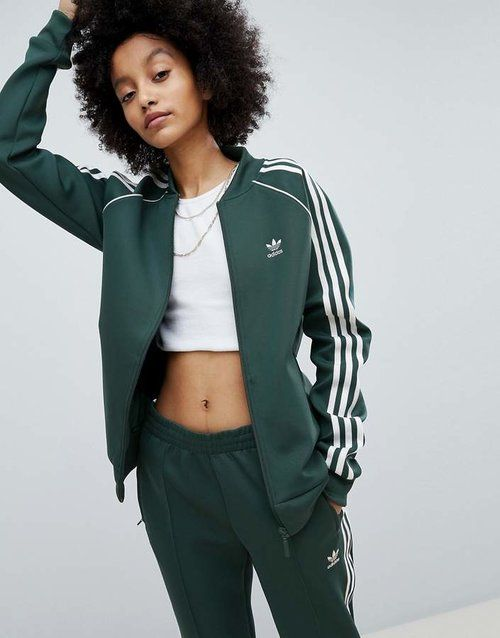ae7fdd611d Adidas Originals Adicolor Three Stripe Track Jacket In Green ...