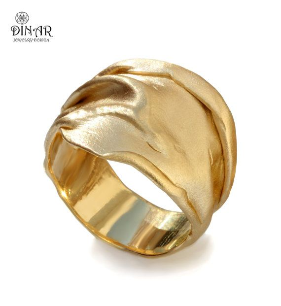 Large unique gold ring, bohemian wide hand forged chunky men women wedding ring, 14k 18k white yellow rose gold, big organic wedding ring