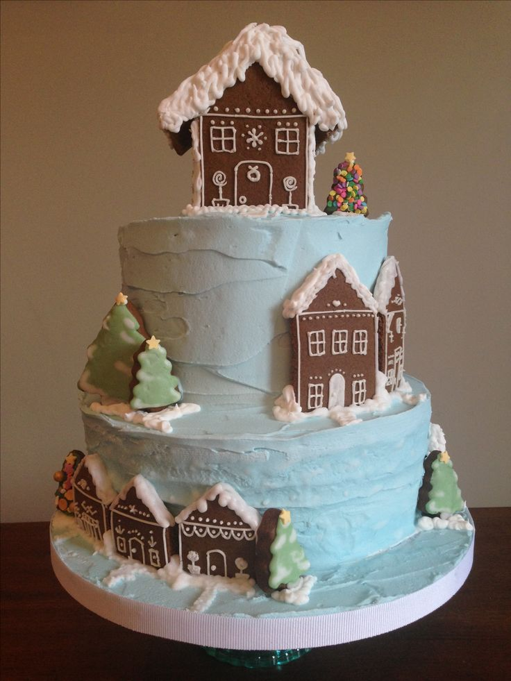 Carty Christmas Cake 2016! Pale blue royal icing decorated with homemade gingerbread houses & trees. Cakes were rich fruit cakes.