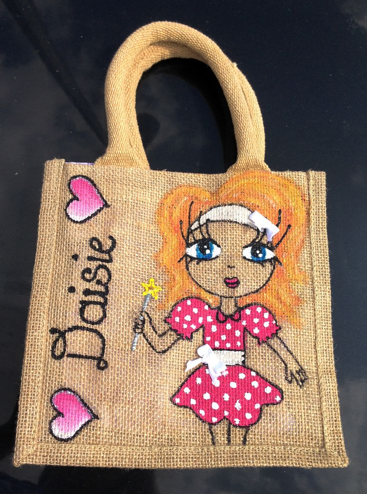 Daisie! Small #handmade jute tote bag, ideal for small hands! Great for #christmas or #birthday #gifts for young girls! Check out more #customised #tote bags at https://www.etsy.com/shop/NuttyMakes or send an email to hazel.okeeffe@mycit.ie
