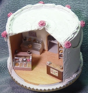 "1/4""scale bakery shop from a CD container decorated like a cake on the outside! Whatba great idea."