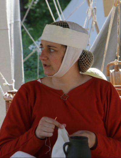 Gewandung, Haarnetz, Mittelalter, 13. Jahrhundert, 13th century, hairnet, medieval, reenactment, living history, Gebende