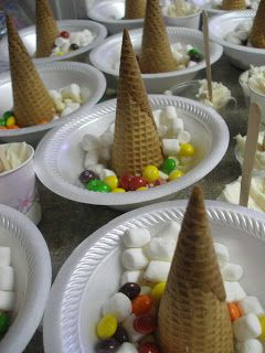 Ice Cream Cone Christmas Tree Craft. Place all items in a bowl, give a dixie cup of frosting and knife to each kid and let them decorate.  K Christmas party idea!