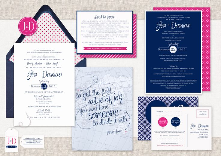 Off Topic Tuesday: my wedding invitations Wedding, wedding stationery, wedding invites, wedding invitations, hot pink and navy, polkadot, mix and match, calligraphy, letterpress, monogram, seal, envelope, envelope liners, rsvp postcard, map, australia, uk, mark twain, quote, love, the story of us, kate reeves robertson, design, graphic design, tag, wedding registry, polkadot, mix and match, wedding website, jen and damian, Jen Bishop, Interiors Addict
