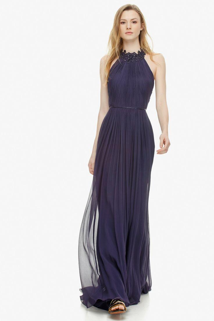 Vestido de seda y escote halter bordado - Vestidos   Adolfo Dominguez shop online