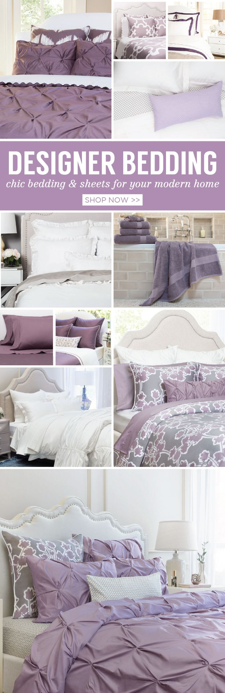 It's Pantone's 2018 Color of the Year! From silky-smooth duvet covers, luxury sheet sets, cozy quilts and comforters, discover beautiful bedding and bath towels in the colors of Ultra Violet.  As seen on the Today Show.