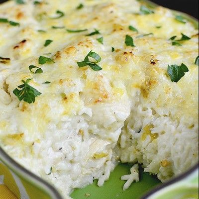 Salsa Verde Chicken and Rice Casserole is totally cravable. Long grain white rice is simmered in tangy salsa verde and chicken broth then combined with sauteed chicken and green chilies, and a creamy homemade cheese sauce before being scooped into a baking dish and broiled.Creamy, cheesy comfort food with a Mexican twist.