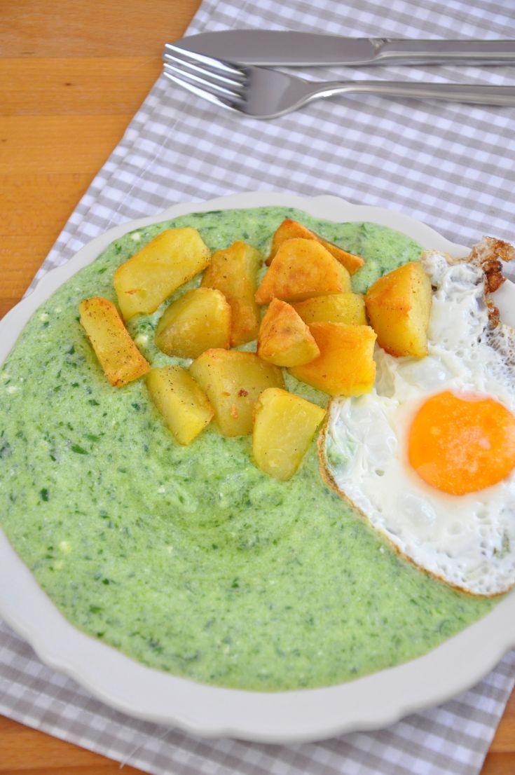 Špenátová zemiaková kaša