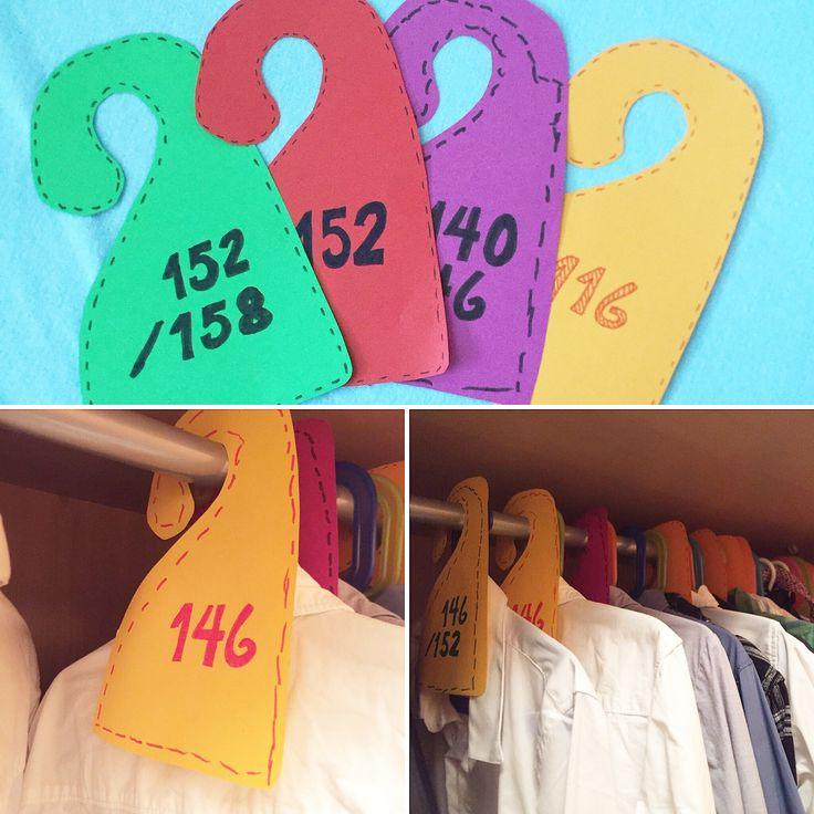 Størrelses merker til garderoben.