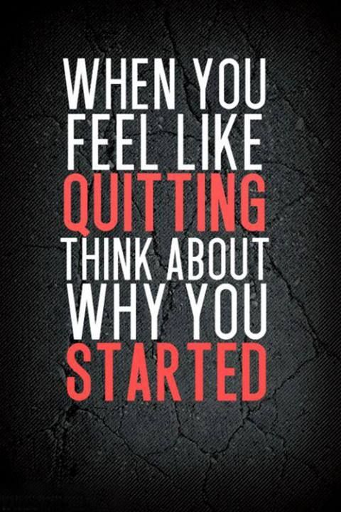 this is a great quote to me because whenever i feel down and i want to quit on myself, i remind myself why i did it in the first place.