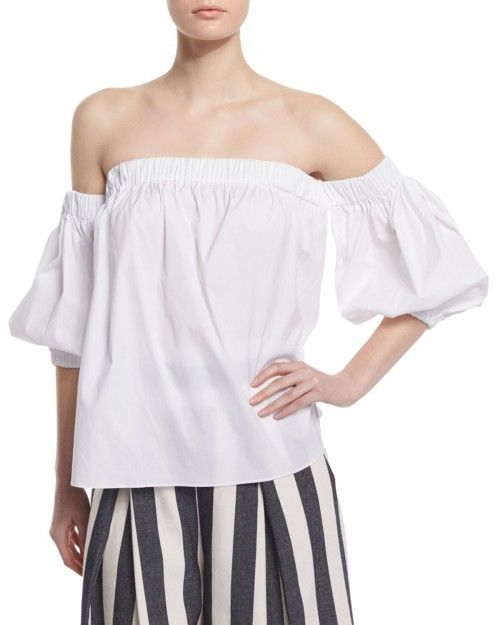 Milly+Off+the+Shoulder+Stretch+Cotton+Blouse+White+Women's+|+Top+and+Clothing