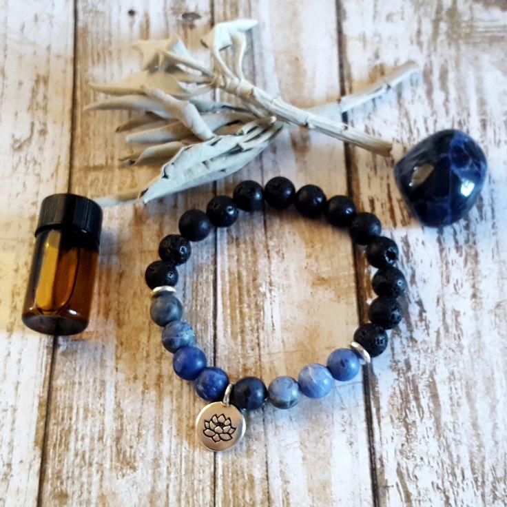 Essential Oil Diffuser Bracelet, Sodalite, Stackable Gemstone Bracelet, Healing Gemstone Jewelry, Beaded Bracelet, Essential Oil Bracelet by CorinnaMaggyDesigns on Etsy