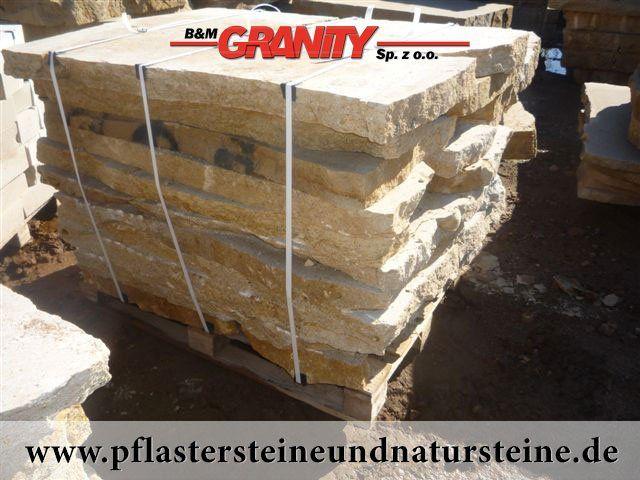 Firma B&M GRANITY bietet diverse Steinplatten an. Platten können so unterschiedlich (Farbe, Form, Bearbeitungsmethode) sein…Diesmal – sehr schöne, frostbeständige Krustenplatten aus Sandstein (Sandstein-Platten). Man kann auch mit diesem Stein andere Natursteine wunderbar zusammenbauen und zusammenstellen.  http://www.pflastersteineundnatursteine.de/fotogalerie/platten/