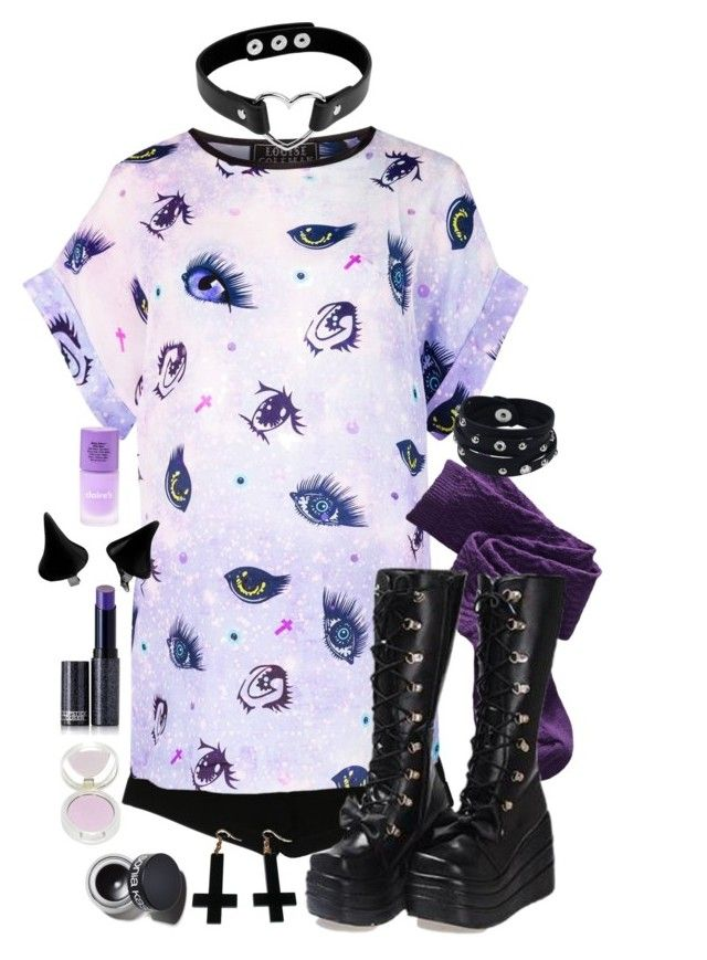 """Purple and Black Harajuku"" by adventuretimekitty ❤ liked on Polyvore featuring Express, Louise Coleman, Xhilaration, Coshome, Lipstick Queen, Sonia Kashuk, Vance Co., Chicnova Fashion, purple and black"