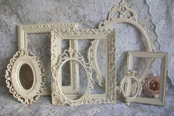 Shabby Chic Frames.  I have a ton of old frames that aren't my style anymore.  I like the idea of painting them all in one color, or shades of one color, and doing a wall in the guest bedroom with pictures of family and fun times, maybe all in black and white or sepia.  Need to keep this one.