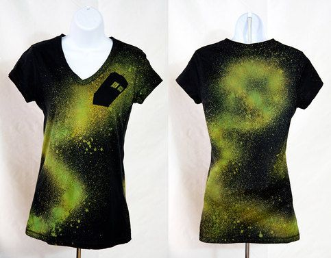 Adventures in Space and Time For all those Doctor Who fans out there! Handcrafted t-shirt with a silhouette of the TARDIS soaring through space. Made with bleach discharge and dyeing. Men and Women styles available!