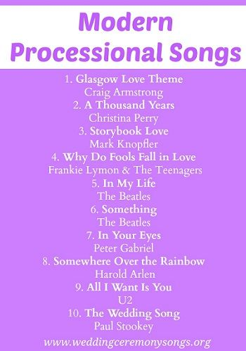 Modern Wedding Processional Songs. #weddingmusic