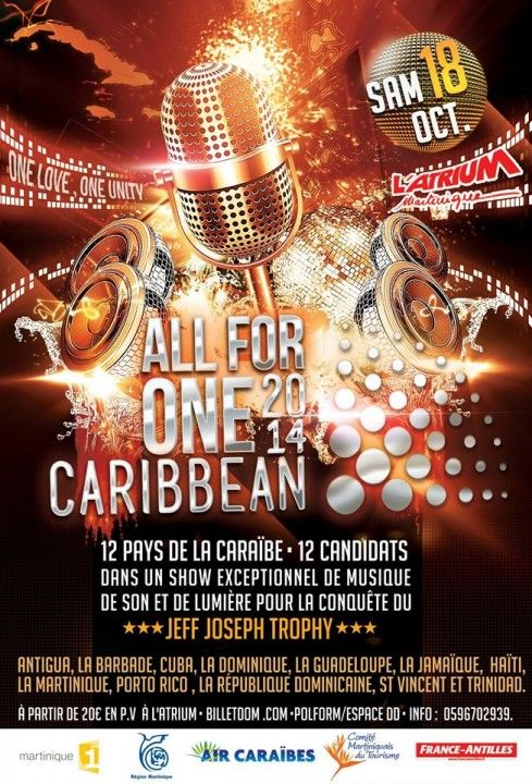 all-for-one-caribbean-2014. Caribbean music. Live concert at Atrium Martinique