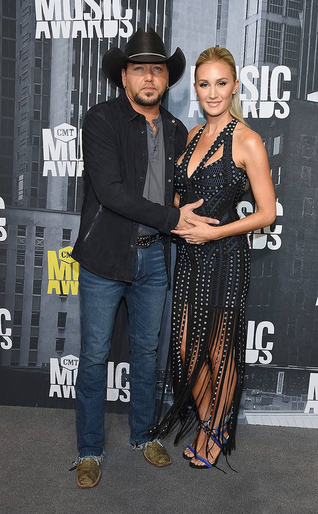 Jason Aldean & Brittany Kerr from CMT Music Awards 2017: Red Carpet Arrivals  Just weeks after announcing their family news, the happy couple steps out at theMusic City Center. Jason is sporting aJohn Varvatos jacket.